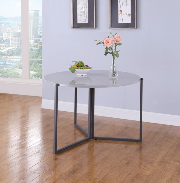 Chintaly Imports Gloss Gray Round Foldaway Dining Table CHF-8389-DT-FLD-GRY