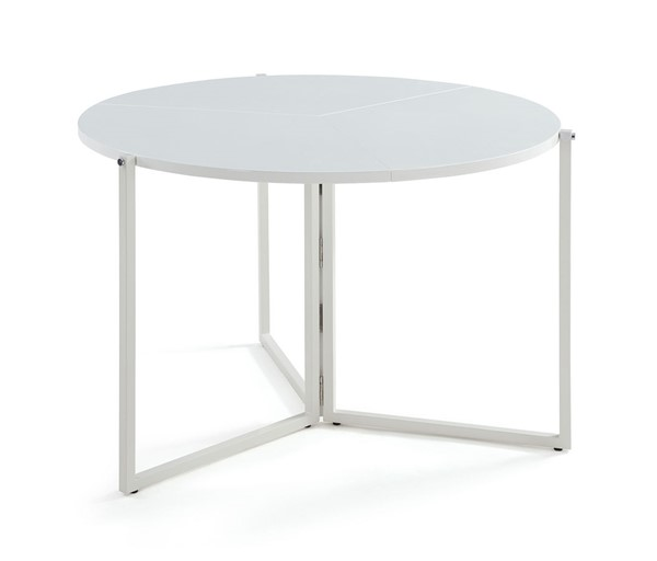 Chintaly Imports Gloss White Round Foldaway Dining Table CHF-8389-DT-FLD-WHT