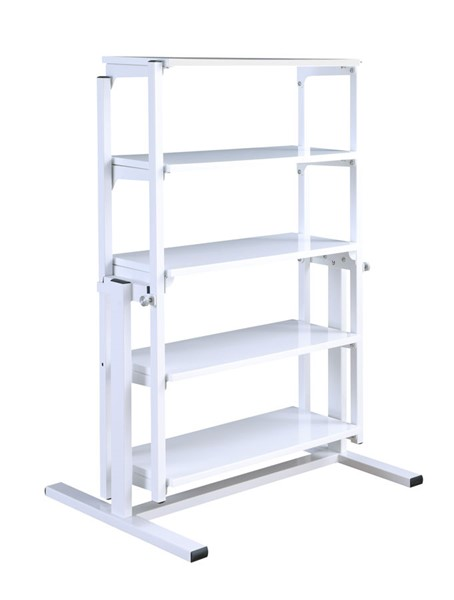 Chintaly Imports Gloss White Convertible Bookshelf and Dining Table CHF-8473-DT-WHT
