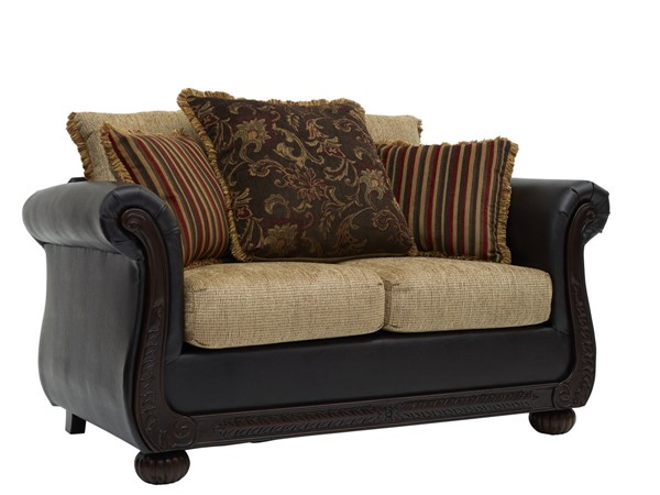 Chintaly Imports Cherry Brown Ruched Arm Loveseat CHF-8525-LOVE-BRW