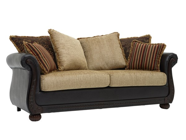 Chintaly Imports Cherry Brown Ruched Arm Sofa CHF-8525-SOFA-BRW