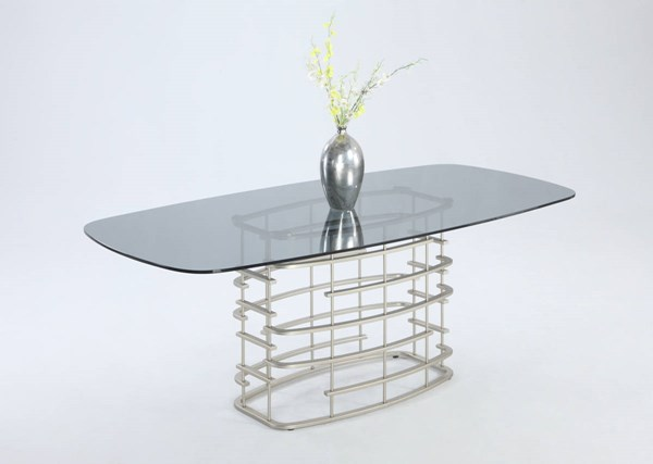 Abby Modern Brushed Nickel Silver Racetrack-Oval Runged Table Base CHF-ABBY-DT-B