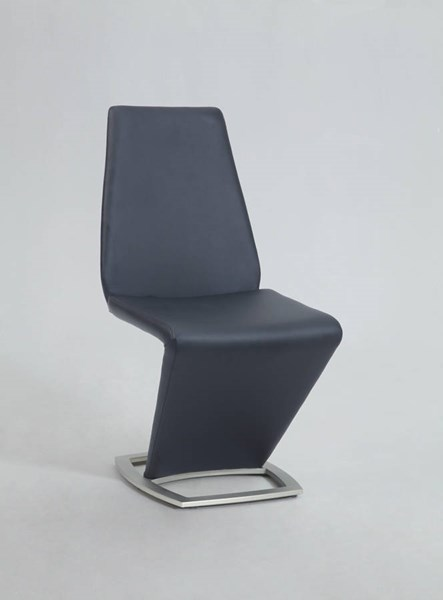 2 Abby Modern PU Brushed Nickel Black Z Shaped Side Chairs CHF-ABBY-SC-BLK