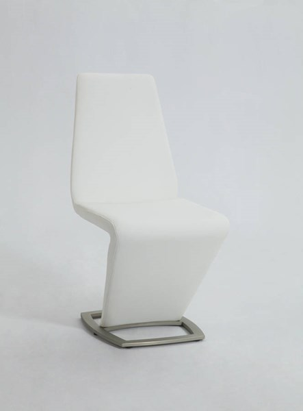 2 Abby Modern PU Brushed Nickel White Z Shaped Side Chairs CHF-ABBY-SC-WHT