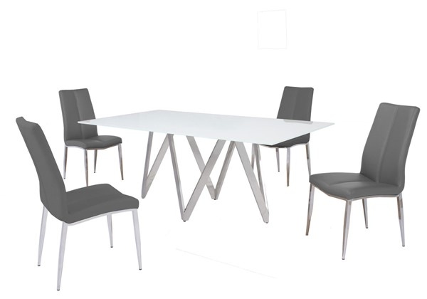 Chintaly Imports Abigail Grey 5pc Dining Room Set CHF-ABIGAIL-5PC-GRY