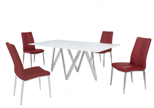 Chintaly Imports Abigail Red 5pc Dining Room Set CHF-ABIGAIL-5PC-RED