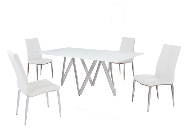 Chintaly Imports Abigail White 5pc Dining Room Set CHF-ABIGAIL-5PC-WHT
