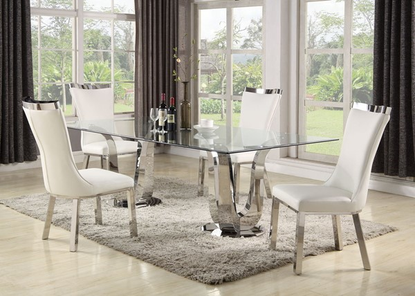 Chintaly Imports Adelle Clear Polished White 5pc Dining Room Set CHF-ADELLE-5PC
