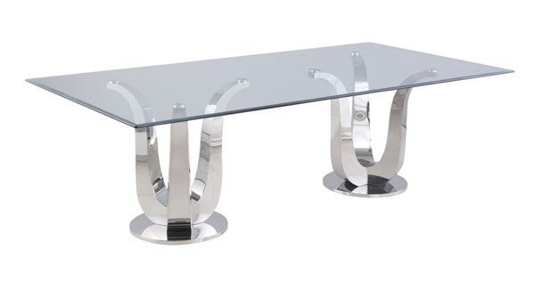Chintaly Imports Adelle Clear Polished Dining Table CHF-ADELLE-DT-RCT