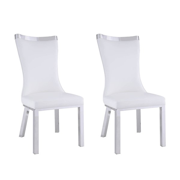 2 Chintaly Imports Adelle Polished White Curved Back Side Chairs CHF-ADELLE-SC-WHT