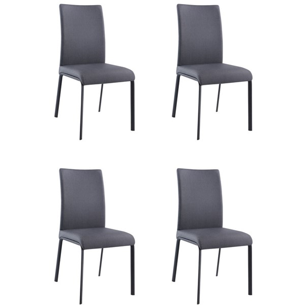4 Chintaly Imports Aida Matte Black Ash Curved Back Side Chairs CHF-AIDA-SC-ASH