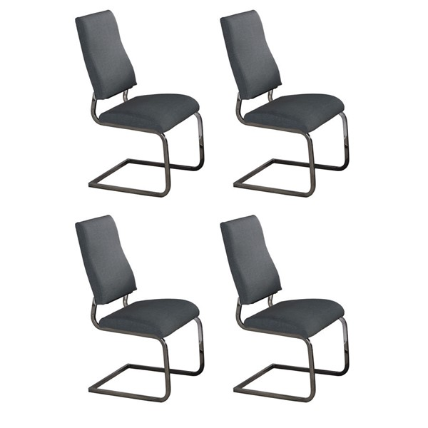 4 Chintaly Imports Alana Black Chrome Gray Cantilever Side Chairs CHF-ALANA-SC-GRY