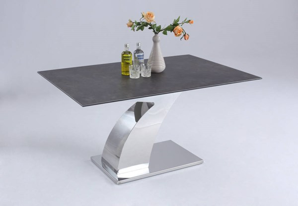 Alice Elegant Shiny Stainless Steel Dining Table Base CHF-ALICE-DT-B
