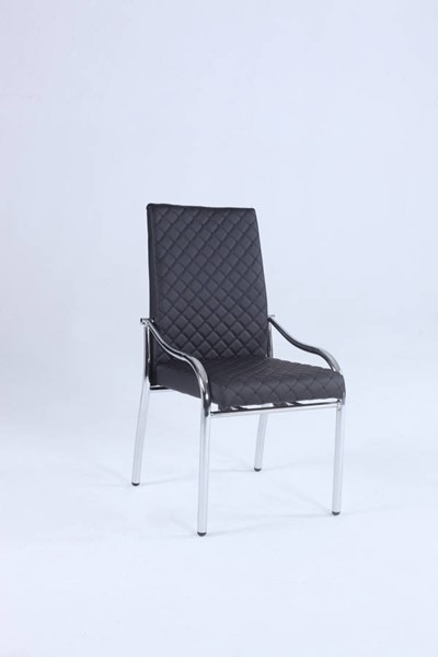 2 Alice Elegant Chrome Black PU Upholstered Motion Seat Side Chairs CHF-ALICE-SC-BLK
