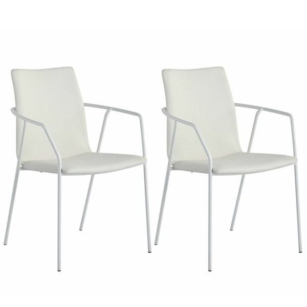 2 Chintaly Imports Alicia Matte White PU Arm Chairs CHF-ALICIA-AC-WHT