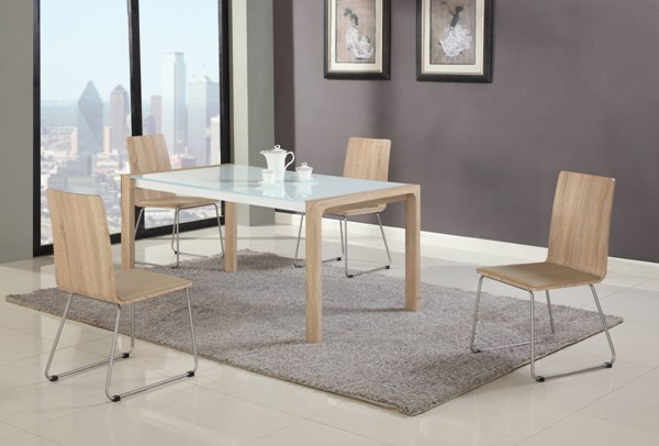 Alicia White Oak Beige Dining Room Set w/Butterfly Leaf CHF-ALICIA-DR