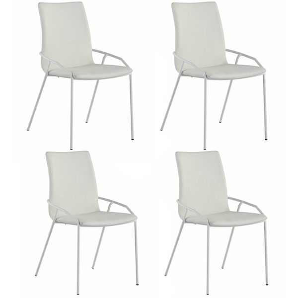 4 Chintaly Imports Alicia Matte White PU Side Chairs CHF-ALICIA-SC-WHT