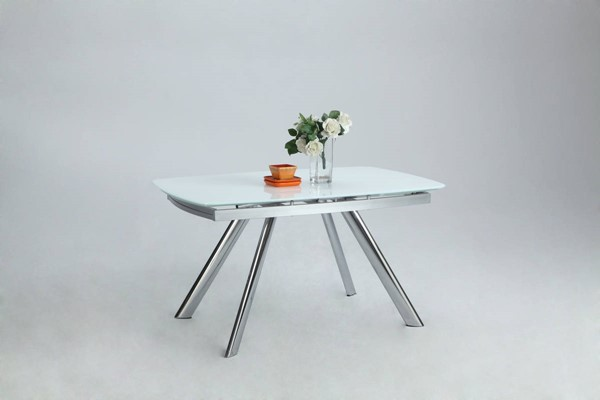 Alina White Chrome Glass Metal Dining Table CHF-ALINA-DT-TB