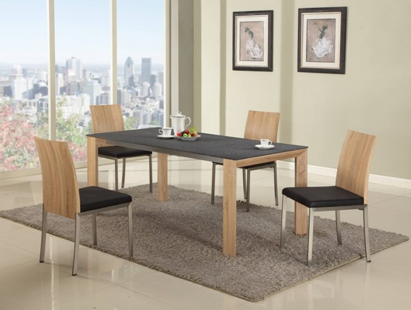 Alison Black Glass Oak Wood 5pc Dining Room Complete Set CHF-ALISON-DR-S1