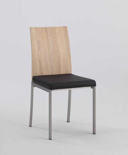 2 Alison Black PU Wood Panel Back Side Chairs CHF-ALISON-SC-BLK