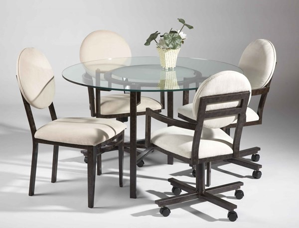 Alexis Casual White Round Back Dining Room Set CHF-AMBER-DT