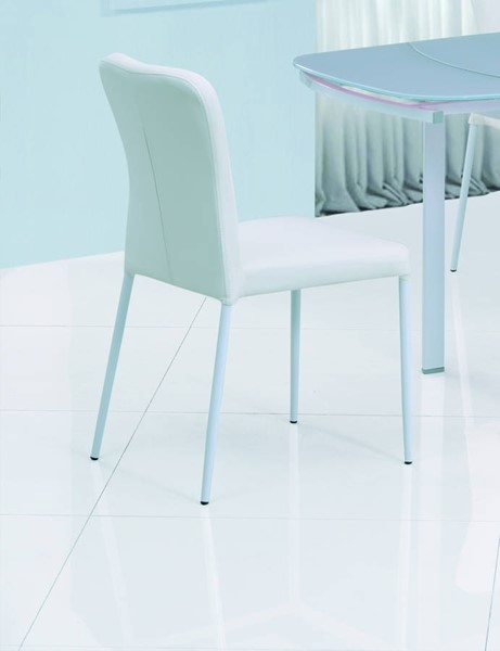 4 Amelia White PU Upholstered Metal Leg Side Chairs CHF-AMELIA-SC-WHT