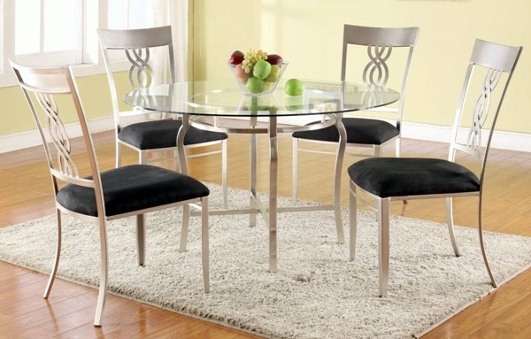 Angelina Black Glass Microfiber Dining Room Set CHF-ANGELINA-DR