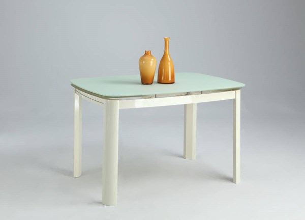 Anna Beige Self-Storing Extension Dining Table Glass Top CHF-ANNA-DT-T