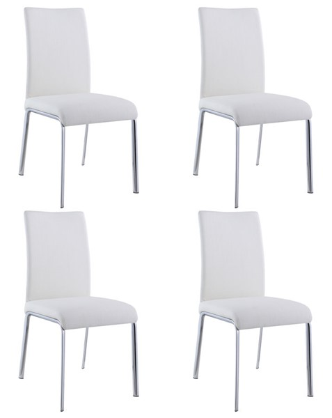 4 Chintaly Imports Ariel Chrome White Contour Back Side Chairs CHF-ARIEL-SC-WHT