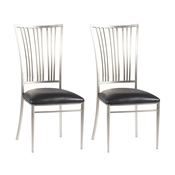 2 Chintaly Imports Ashthyn Brushed Nickel Black Side Chairs CHF-ASHTYN-SC