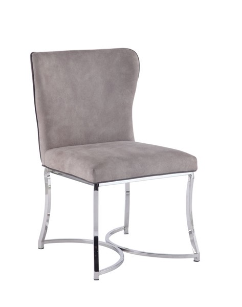2 Chintaly Imports Autumn Polished Light Gray Side Chairs CHF-AUTUMN-SC-GRY