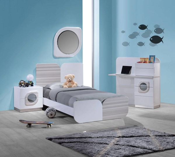 Cairo High Gloss White 4pc Bedroom Set w/Twin Bed CHF-CAIRO-BR-S1