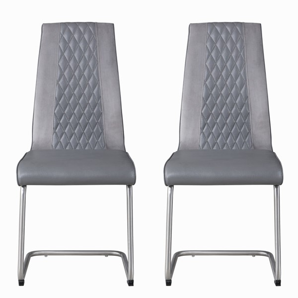 2 Chintaly Imports Cameron Brushed Gray Cantilever Side Chairs CHF-CAMERON-SC-GRY-BSH