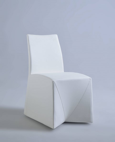 2 Camila Modern White PU Fully Upholstered Tuck-In Side Chairs CHF-CAMILA-SC-WHT