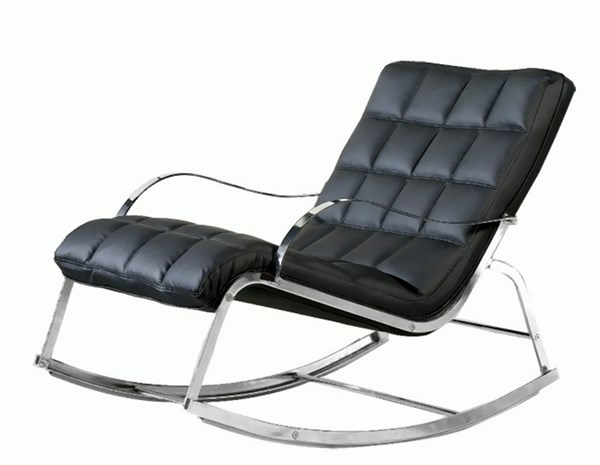 Contemporary Black Bonded Leather Rocker Lounge Chair Body CHF-CAMRY-LNG-T