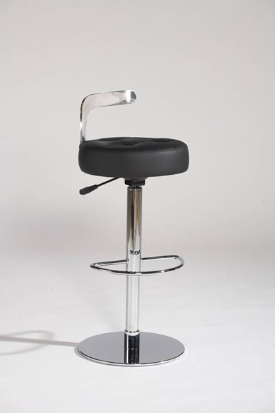 Canal Black Bonded Leather Pneumatic Gas Lift Adjustable Swivel Stool CHF-CANAL-AS