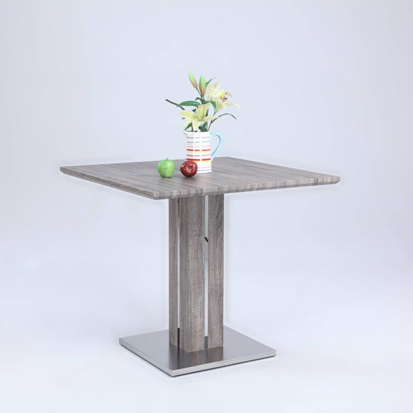 Carina Gray Wood Stainless Steel Counter Table Pedestal CHF-CARINA-CNT-DRK-M