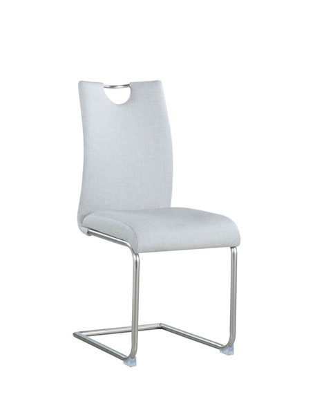 4 Chintaly Imports Carina Brushed Nickel Light Gray Cantilever Side Chairs CHF-CARINA-SC-508