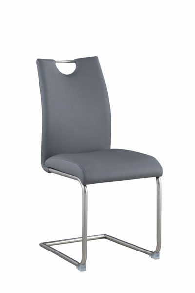 4 Chintaly Imports Carina Brushed Nickel Gray Cantilever Side Chairs CHF-CARINA-SC-GRY