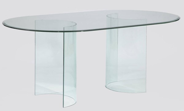 C Base Glass Oval Solid Top Dining Table CHF-CBASE-DT-4272-TB