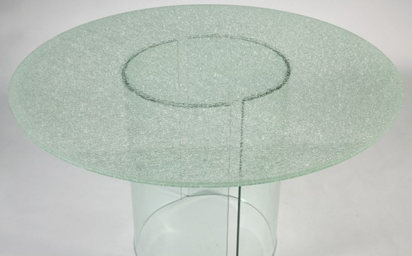 C Base Round Glass Dining Table Top w/Beveled Edge CHF-CBASE-DT-48-T