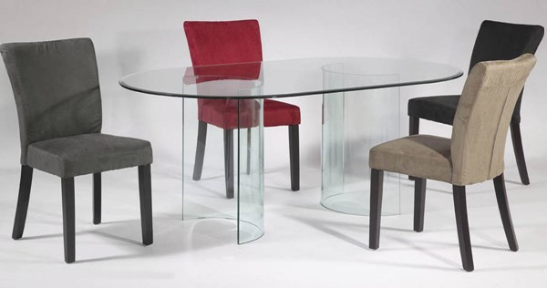 C Base Fabric Wood Glass Dining Room Set CHF-CBASE-DT