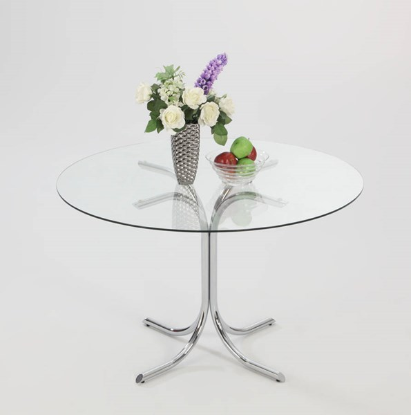 Cece Chrome Glass Metal Solid Top Round Table CHF-CECE-DT-TB-CHR