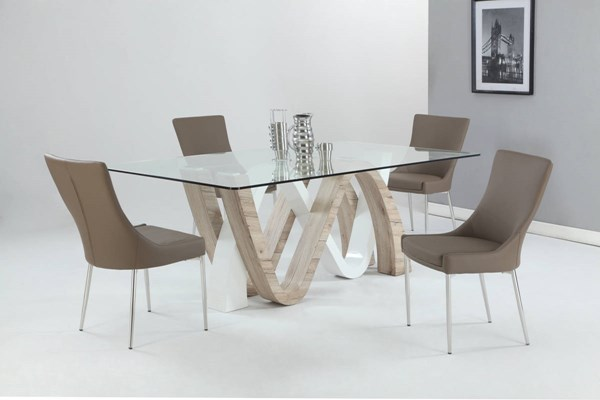 Celine Patricia Metal Wood Glass Light Oak PU 5pc Dining Room Set CHF-CELIN-DR-S2