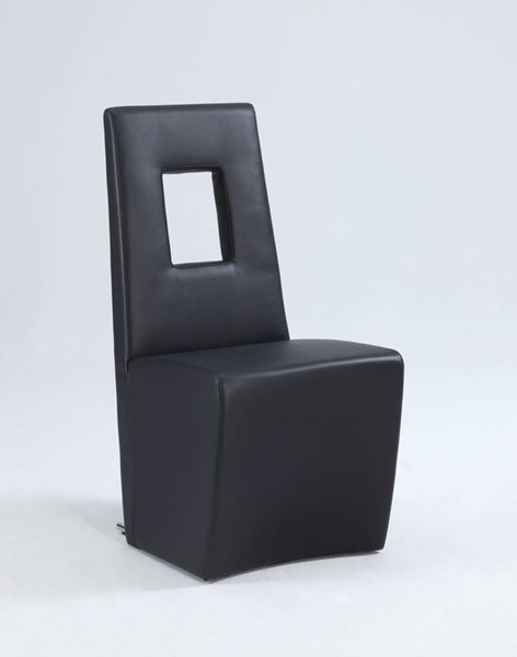 2 Chasity Black PU Stainless Steel Fully Upholstered Side Chairs CHF-CHASITY-SC-BLK
