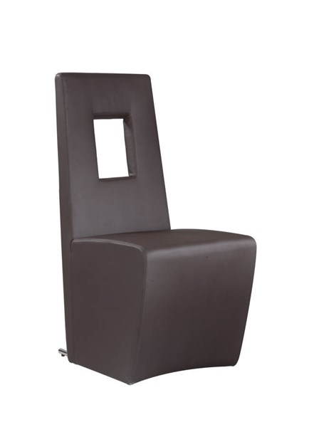2 Chasity Brown PU Stainless Steel Fully Upholstered Side Chairs CHF-CHASITY-SC-BRW