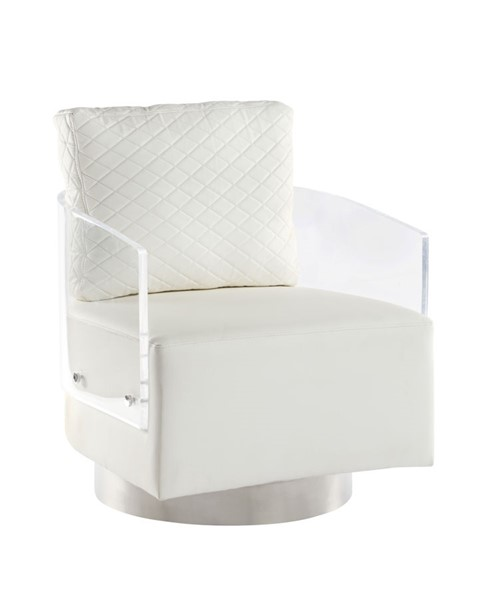 Chintaly Imports Ciara Contemporary Clear Acrylic Back Swiveling Accent Chair CHF-CIARA-ACC-WHT