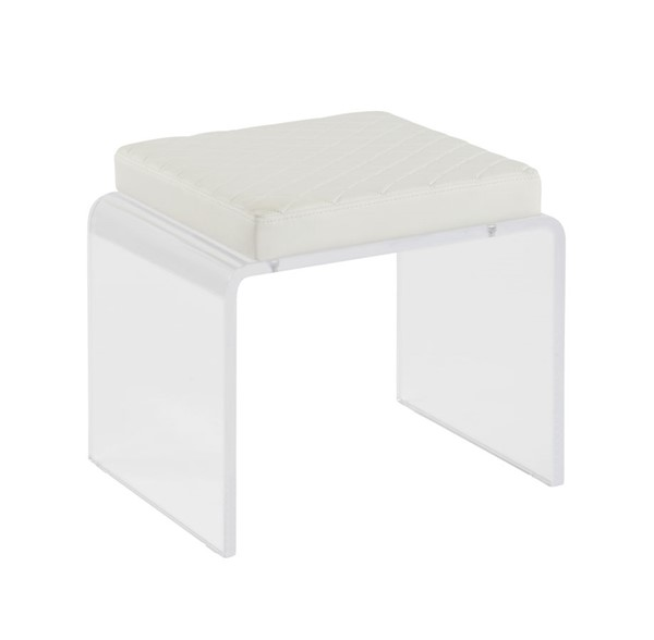 Chintaly Imports Ciara Contemporary Clear Acrylic and White Upholstered Ottoman CHF-CIARA-OT-WHT