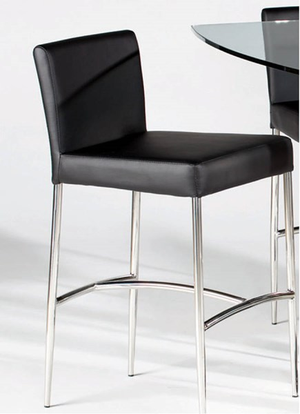 2 Cilla Contemporary Black PU Stainless Steel Counter Height Stools CHF-CILLA-CS