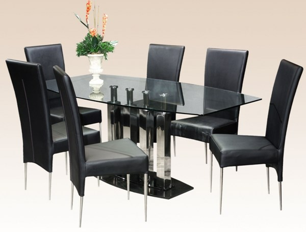 Cilla Glass Metal Solid Back Dining Room Set CHF-CILLA-DT